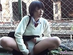 Asian schoolgirls rub