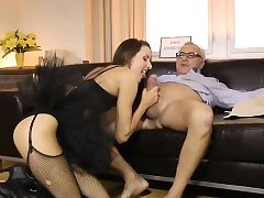 Tutu wearing brit stunner pussyfucking oldman