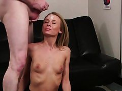 Super-naughty looker gets sperm load on her face sucking all the s