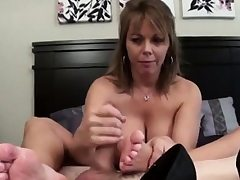 Sweaty Feetjob and Jizz inwards her shoe.