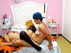 Small titted teenie girl in stockings sucking Man rod