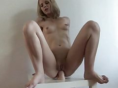 Imposing dildo fits is blonde's narrow anal