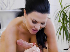 Stud gets massage and more from his hot buxomy former teacher