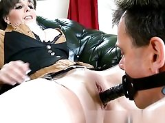 Horny dude is fucking her labia with a rope on and frosts her tits with cum